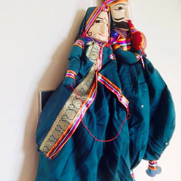 Indian puppet/ indian wall hanging pair of puppets / Rajasthan Kathputlis / blue indian puppet / indian folk puppets / kathputli pair