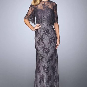 La Femme - 24856 Beaded Lace Gown with Capelet