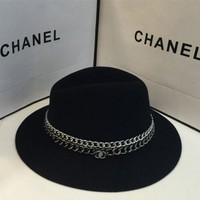 DCCK6HW Chanel' Autumn Winter Women Fashion All-match Aristocratic Wind Chain Cap Wool Large Brimmed Hat