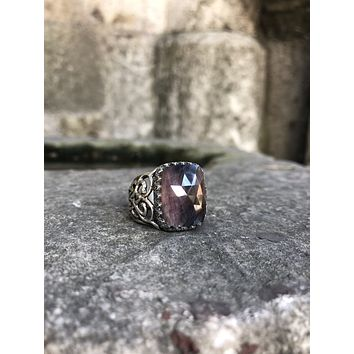 Unique bloody sapphire gemstone 925k sterling silver mens ring