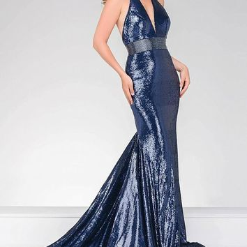 Jovani - Long Sequin Prom Dress With  Halter Neck  45203