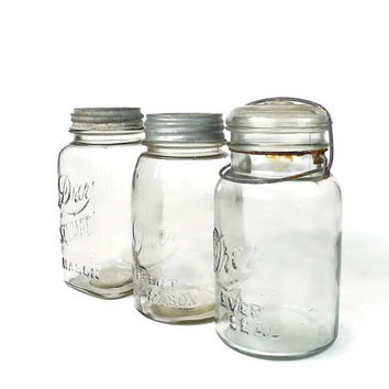 Collection of Vintage Drey Canning Jars Square Mason Ever Seal and Perfect Mason