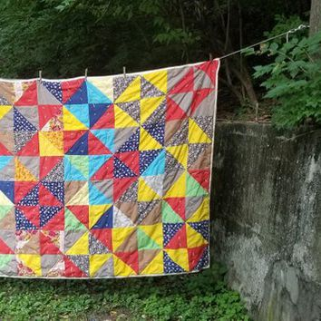 Vintage Mid Century Multi Color Hand Tied Patchwork Quilt