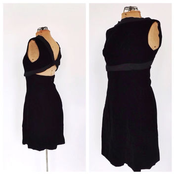Vintage 1960s Suzy Perette Dreama Peery Black Velvet Mini Cocktail Dress Bombshell Mod 60s Couture Cut Out Back 50s Holiday Party Dress