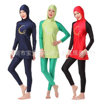 Moon Printed Muslim Swim Suits Women Conservative Swimwear Islamic Full Coverage Swimming Wear Girl Hooded Tops Swimsuit XS-XXXL