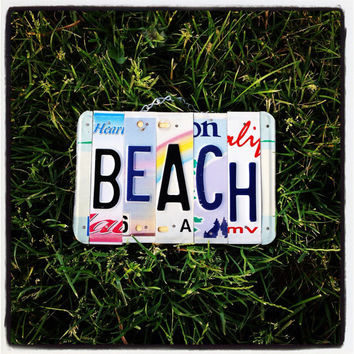 Beach, licenseplate, sign, ocean, seaglass, hawaii, girls, waves, surfer, beachdecor, womens, maui, flower, giftidea