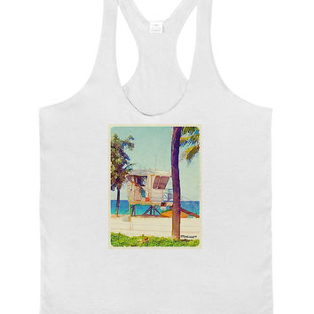 Lifeguard Station Watercolor Mens String Tank Top