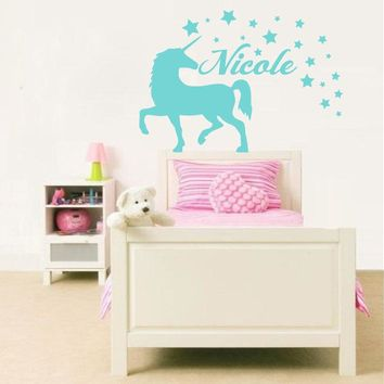 Unicorn Animal Wall Decal Personalized Name Vinyl Wall Stickers For Kids Rooms Kids Nursery Name Stars Pattern Bedroom DecorSY59