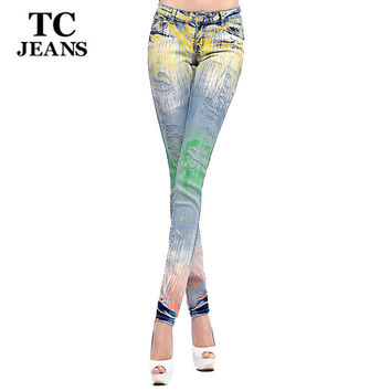 TC Ripped Jeans For Women 2015 Skinny High Waist Torn Jeans Rhinestone Diamond Pencil Jeans Female Denim Pants Trousers WT00732