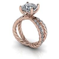 Rope Split Shank Moissanite Engagement Ring Setting - Cushion Cut Moissanite Engagement Ring