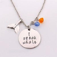 "2017 Finding Nemo Dory Necklace""I Speak Whale""Hand Stamped Letter Pendant with Crystal Charm Cartoon/Movie Jewelry for Girls"