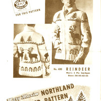 Mens Christmas Sweater Northern Reindeer Vintage Graph Knitting pattern Mary Maxim No 400 Mens 38 to 44