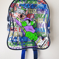 CHUCK E CHEESE // Vintage 90s Mini Backpack Clear See Through Small Bag