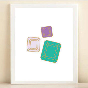 Purple, Aqua, and Gold Gem print poster