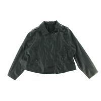 Doll House Womens Plus Faux Leather Quilted Motorcycle Jacket