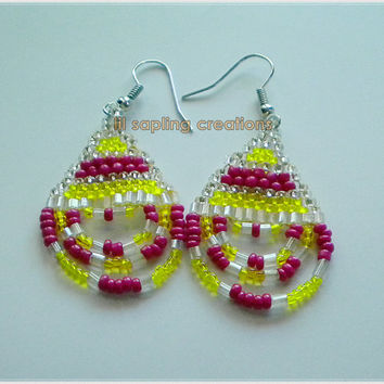 Hot Pink & Yellow Native American Beadwork Seed Beaded Dangle Loop Fringe Statement Earrings