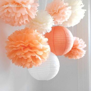 Fall In Love   6 Tissue Paper Pom Poms Plus 2 Paper Lantern   Fast Shipping   Wedding / Baby Shower / Birthday Party / Nursery Decor