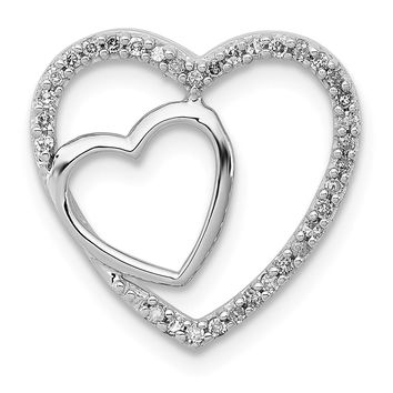 .12 Ctw Diamond Double Heart Pendant in Sterling Silver Necklace