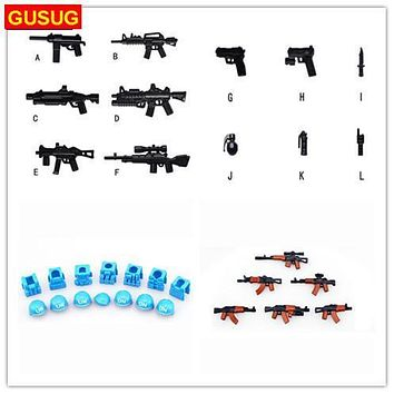 GUSUG Guns helmet and Beret UN Bulletproof Vest AK Weapons Pack Military Series Army l Arms For City Police Blocks Toys