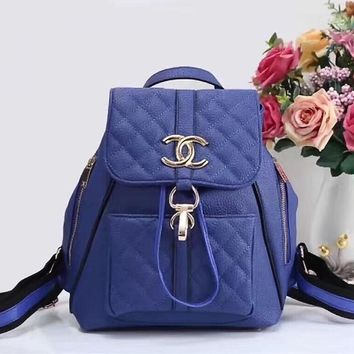 One-nice™ CHANEL Women Casual School Bag Cowhide Leather Backpack
