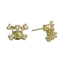 14K Yellow Gold 6mm CZ Skull Crossbones Stud Earrings | Body Candy Body Jewelry