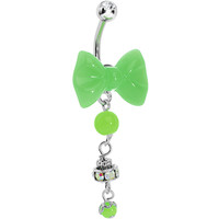 Aurora Gem Green Neon Bow Dangle Belly Ring | Body Candy Body Jewelry