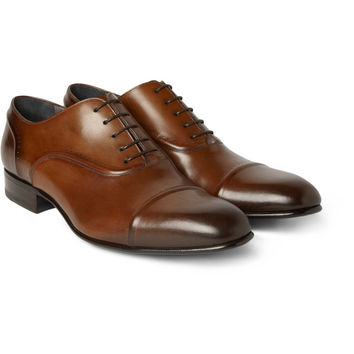 Lanvin Burnished-Leather Oxford Shoes | MR PORTER