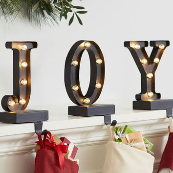 Lit Bronze Word Stocking Holder - Joy