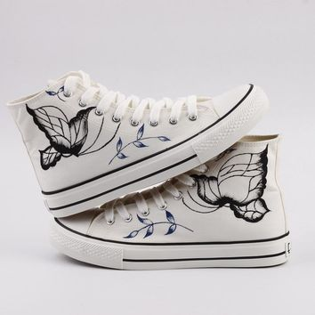 Women Canvas Shoes  Hand-Painted Shoes Flat Lacing Spring Casual Board Shoes
