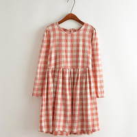 Polka Dot Pattern Plaid Pleated Dress