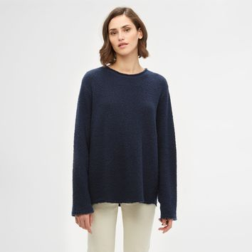 Boucle Crewneck Sweater - Navy