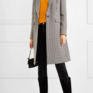 Givenchy - Velvet-paneled houndstooth wool coat