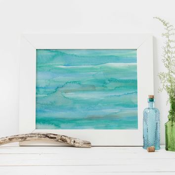 Modern Coastal Ocean Abstract Watercolor Painting Wall Art Print or Canvas