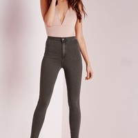 Missguided - Vice High Waisted Skinny Jeans Khaki