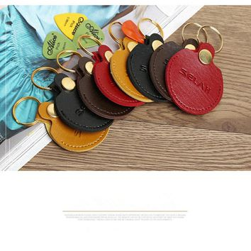 Guitar Picks Case Coin Purse Black Faux Leather Key Chain Style Guitar Picks Holder Plectrums Case Bag Key ring 1 set