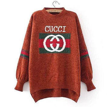GUCCI Trending Women Round Collar Print Long Sleeve Irregular Knit Pullover Top Sweater Brown I