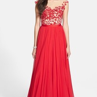 Women's Sherri Hill Cap Sleeve Lace & Chiffon Gown