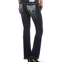 Miss Me Embroidered Bootcut Jeans - Dark Blue