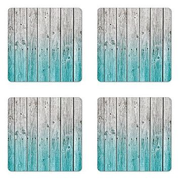 Ambesonne Rustic Coaster Set of Four Wood Panels Background with Digital Tones Effect Country House Art Image Square Hardboard Gloss Coasters for Drinks Light Blue and Grey
