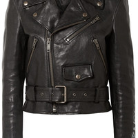 Balenciaga - Printed textured-leather biker jacket