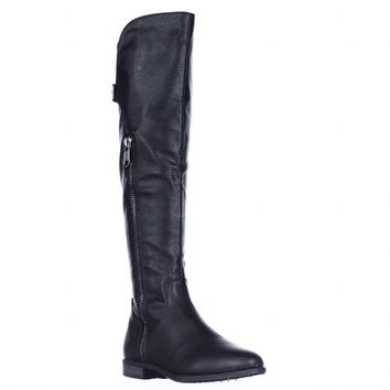 Rialto Firstrow Wide Calf Zip Up Riding Boots, Black, 5 US