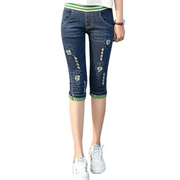 Ripped Jeans Female Women Denim Pants Capri Bottoms Capris Elastic Waist Embroidery Cuffs Ripped Hole Trousers Cropped 3/4
