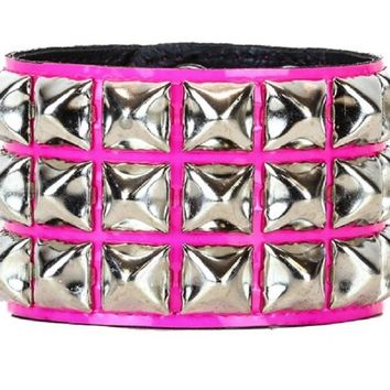 3 Row Silver Pyramid Stud Pink Leather Wristband Cuff Bracelet