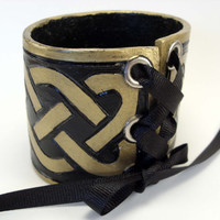 Celtic Knot Wrist Cuff Bracer in Gold and Black with Eyelets and Ribbon