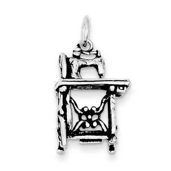 Sterling Silver Antiqued Sewing Machine Charm QC7744