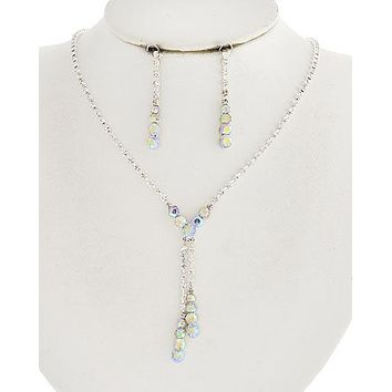 Vintage Style Silver Clear & AB Rhinestone Wedding Prom Necklace & Drop Earring Set
