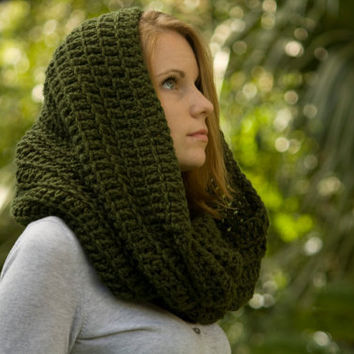 Oversized Scarf, Hooded Scarf, Infinity Scarf, Olive Forest Green Crochet