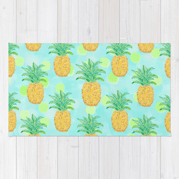 Pineapples and Polka Dots (pattern) Area & Throw Rug by Lisa Argyropoulos | Society6