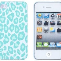 Mint Green Leopard Embossed Hard Case for Apple iPhone 4, 4S (AT&T, Verizon, Sprint) - Includes DandyCase Keychain Screen Cleaner [Retail Packaging by DandyCase]