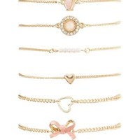 Owl, Hearts & Bow Bracelets - 6 Pack by Charlotte Russe - Gold